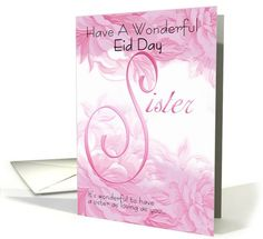 Eid Card For Sister, Pink Floral card (679558)