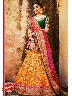 Buy Pink & Light Orange Bandhani & Silk Jacquard Lehenga Choli Online