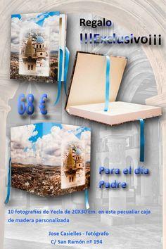 Jose Casielles fotografo en Yecla te propone de regalo para el día del padre 10 fotografias 20x30 cm sobre yecla en una caja de madera encuadernada !!!