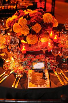 Special Occasions Event Planning | Dia De Los Muertos Decor | Gold Skull Candle