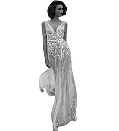 6f5d7446e6 MOON Women s Deep V Neck Backless Lace Applique Sheath Tulle Wedding Dress  at Amazon Women s Clothing store