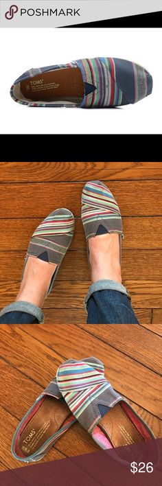 Striped Toms Striped multi-color Toms. Very versatile and comfortable. In great shape except for faint stain on one shoe. Still have good structure. TOMS Shoes Flats  Loafers