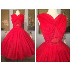 1950s Red Hot Cupcake Prom Dress Sheer Underbust Cut Out