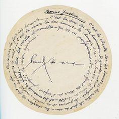 """Poème circulaire de Paul Eluard ..."""" bonne justice """" """" c'est la chaude loi des hommes du raisin ils font du vin du charbon ils font du feu des baisers ils font des hommes ..."""""""