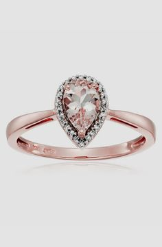 10k Rose Gold, Morganite, and Diamond Halo Ring