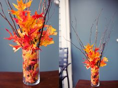 Take autumn leaves and twigs from your yard or neighborhood to make this easy fall bouquet.  When the colors start to fade, compost them and start over.  Start incorporating evergreenery around November to signify the change into the Christmas season.  You can also line the vase with warm-white twinkle lights.  At night it becomes a lovely nightlight.