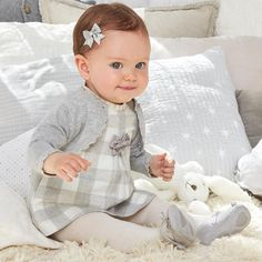 Mayoral Baby Girls Gingham Gray Dress