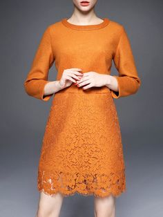 Orange Crew Neck Lace 3/4 Sleeve Mini Dress