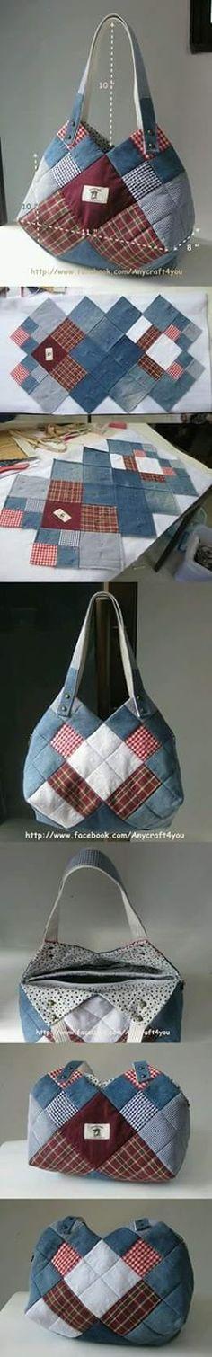 reused Denim Ingeniös use for jean and some prints of c # Patchwork Denim Bag Patterns, Purse Patterns, Sewing Patterns, Patchwork Patterns, Patchwork Bags, Quilted Bag, Patchwork Quilting, Denim Patchwork, Diy Quilting