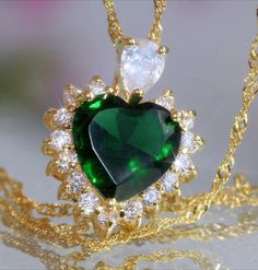 Sparkling 3ct Created Emerald & Diamond Heart Pendant + Necklace