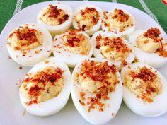 Crack Deviled Eggs, Ranch, Bacon, Hard Boiled, Appetizer, Side Dish