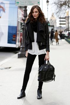 Fall fashion | White top with leather pants, leather jacket and scarf