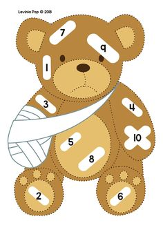 Bear visiting doctor: match the dotted band-aids to the numbers on teddy. Doctor Theme Preschool, Bears Preschool, Preschool Centers, Numbers Preschool, Preschool Activities, Space Activities, Community Helpers Activities, Community Helpers Kindergarten, In Kindergarten