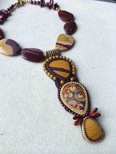 Bead Embroidery Necklace by QueenMarcyOriginals on Etsy