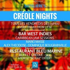 les Créole Nights au Bar West Indies Hôtel La Batelière, Martinique, Jam Sessions avec Mario Masse, Dominique Bougrainville, Alex Theodose.