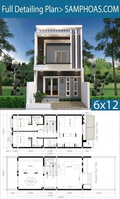 Modern Home Plan with 3 Bedroom - SamPhoas Plan Sims House Plans, Duplex House Plans, House Layout Plans, House Layouts, House Front Design, Small House Design, Modern House Design, Narrow House Plans, Small House Floor Plans