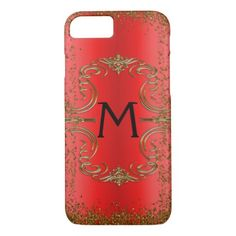 Gold Glitter and Red Monogram iPhone 8/7 Case - monogram gifts unique design style monogrammed diy cyo customize