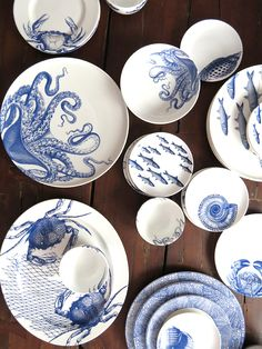 Crab boil? Clambake? Caskata sea life designs in our signature blue - bring on the beach!