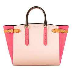 Aspinal of London Marylebone Leather Tote Handbag , Coral/Rose
