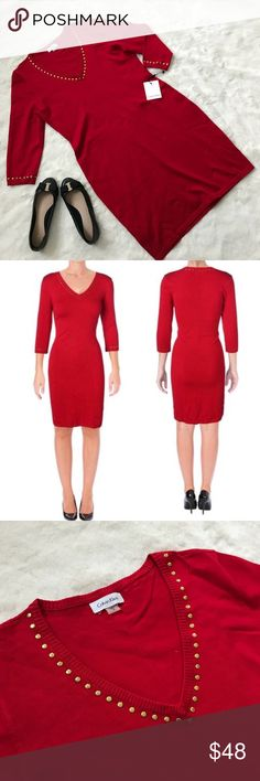 Calvin Klien red knit gold studded dress Beautiful Calvin Klien knit dress. Designed with attractive gold stud details around the v neck collar and cuffs. Thank you for looking check out the rest of my closet for items to bundle for a discount or make a reasonable offer. Calvin Klein Dresses Midi