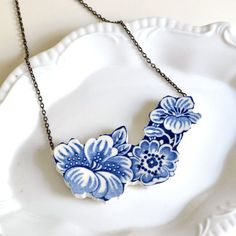 Cut Out China Necklace  Blue and White Floral  by TheBrokenPlate, $55.00
