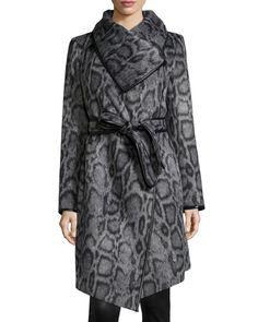 TAQML Diane von Furstenberg Polly Animal-Print Belted Coat