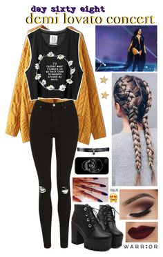 """day sixty eight, demi lovato concert"" by love-wasted ❤ liked on Polyvore featuring Topshop, Missoma, Fallon, concert, DemiLovato and byroxouu"