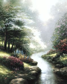 Thomas Kinkade Petals of Hope painting for sale, this painting is available as handmade reproduction. Shop for Thomas Kinkade Petals of Hope painting and frame at a discount of off. Romantic Paintings, Beautiful Paintings, Thomas Kinkade Art, Kinkade Paintings, Thomas Kincaid, Art Thomas, Landscape Paintings, Amazing Art, Beautiful Pictures
