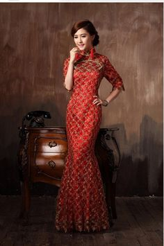 Chinese Wedding Clothes Chinese Cheongsam Wedding Dress Lace Flowers Embroidery High Slit Slimming Qipao Dress Toast Party Dress Red Color Ankle Length Chinese Wedding Dresses Online From Elitewin, $145.64  Dhgate.Com