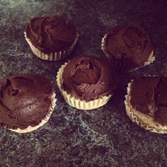 Almond butter cupcakes with a mocha buttercream icing. They're incredible and super easy.