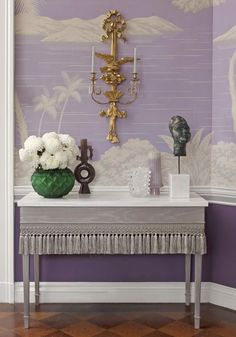 Lalique's Green Languedoc Vase and Mossi Lamp featured in the 2011 Greystone Mansion Designer Showcase. Room design by Philip Gorrivan. Photography by Tim Street-Porter. Pantone, Interior Design Quotes, Purple Interior, Purple Hues, Aesthetic Colors, Designer Wallpaper, Decoration, Color Inspiration, Decorative Accessories