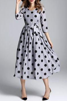 Biemei Gray Polka Dot Maxi Dress With Belt | Maxi Dresses at DEZZAL