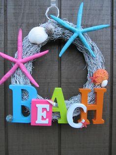Summer Wreath- Beach Wreath- Starfish Wreath. $55.00, via Etsy.