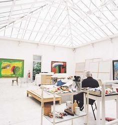 Sir Howard Hodgkin in his studio - what a wonderful space