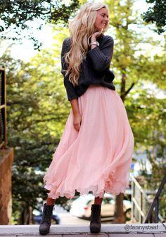 Circle Maxi Skirt  in Baby Pink. Very feminine