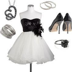 Outfit by Ashley Krystine. :) I would love to wear this on a night out!! The shoes and the dress especially I would LOVE.