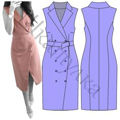 44 Super Ideas For Dress Diy Formal Sewing Patterns Dress Sewing Patterns, Blouse Patterns, Clothing Patterns, Mode Kimono, Casual Dresses, Fashion Dresses, Trench Dress, Fashion Design Sketches, Fashion Sewing