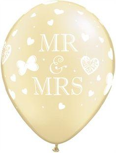 "Mr & Mrs 11"" Pearl Ivory Latex Balloons 25pk"