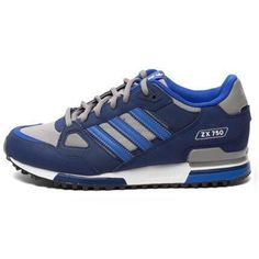 huge selection of 7e8dd fb50f Adidas Men Originals ZX 750 Shoes Navy Blue Metallic Grey Adidas Zx, Adidas  Sneakers,