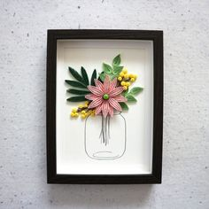 New frame I've been working on - Swipe! Lately I've been liking to make these mason jars filled with flowers and leaves 🌿💐 Quilling Work, Quilling Craft, Quilling Flowers, Paper Flowers, Quilling Ideas, Paper Quilling Cards, Paper Quilling Designs, Quilling Patterns, Birthday Gift Cards