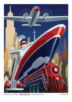 """art deco posters travel - Google Search"" I like this peice because of the clever use of perspective, and i also love the matching colours, i like how they are bold, and stand out so much from the background, which however i do not like. i think it detracts too much from the peice itself, and i will make sure to consider this in my work"