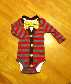 Baby Cardigan Onesie and Bowtie Set, Baby Boy Cardigan, Twin Baby Outfits, First Birthday Outfit