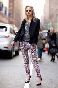 NY Street style.  Elin Kling grounds graphic denim with chic black pumps.  Read more: Fall 2012 Street Style Photos - Street Style Trend Report Fall 2012 - Harper's BAZAAR