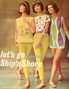 1960s #retro #fashion vintage fashion style color photo print ad model magazine 60s yellow white casual sportswear pants shirt shorts dress