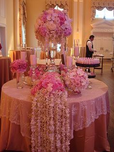Waterfall of flowers to be set in Aimee's colors. Pastry Table or ?    Pink Sweetheart Table- Wedding Reception