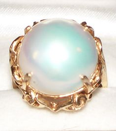 Estate Huge 16mm Mabe Pearl 14K Yellow Gold Ring / Sz 7 #SRB #MabePearl