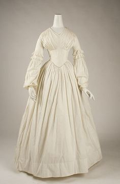 The Metropolitan Museum of Art - DressDress Date: ca. 1840 Culture: American Medium: cotton Dimensions: Length at CB: 51 in. cm) Credit Line: Gift of Richard Martin and Harold Koda, in honor of Cora Ginsburg, 1993 Accession Number: 1800s Fashion, 19th Century Fashion, Fashion Mode, Moda Fashion, Victorian Fashion, Vintage Fashion, Victorian Dresses, Victorian Gothic, Gothic Lolita