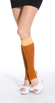 Toeless Knee High Socks (Orange/Caramel) - Pamela Mann