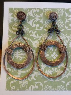 Earrings made with copper washers and copper wire! on Rings blog obliviata