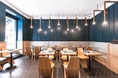 Bottega Romana by Isabelle Stanislas Architecture - de Banquette Restaurant, Deco Restaurant, Restaurant Interior Design, Commercial Interior Design, Cafe Interior, Interior Exterior, Commercial Interiors, Design Café, Cafe Design